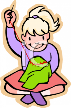 0511 1001 0515 0733 Girl Learning To Embroidery Clipart Image Jpg