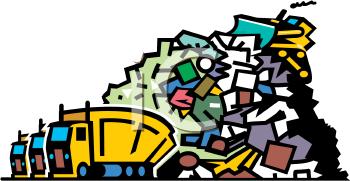 0901 0904 4518 Trucks Dumping Garbage At A Landfill Clipart Image Png