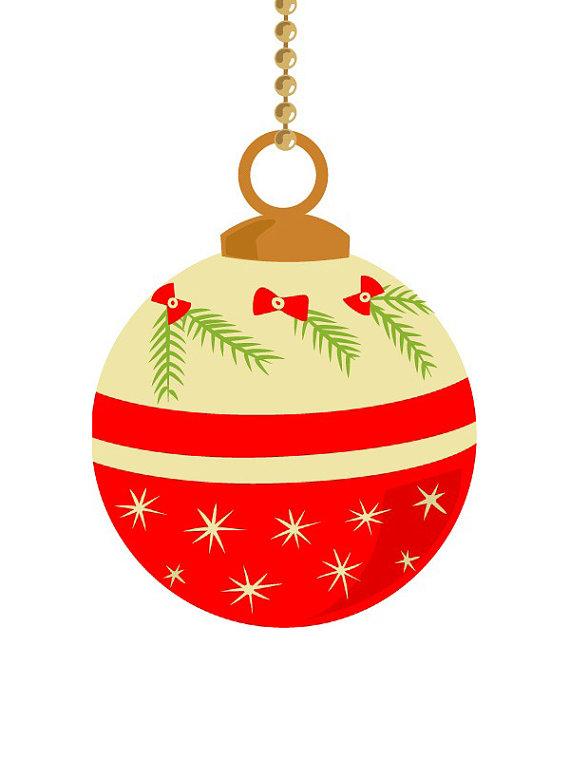 10 Vintage Christmas Ornament Clip Art Pastel Color Retro Christmas