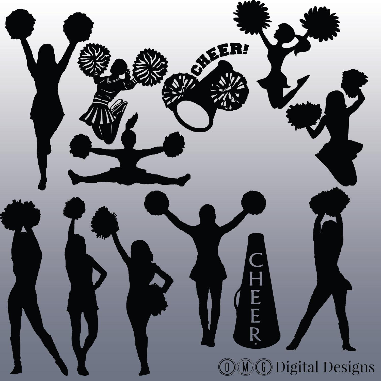 12 Cheerleader Silhouette Digital Clipart Images, Clipart Design Elements,  Instant Download, Black Silhouette Clip art