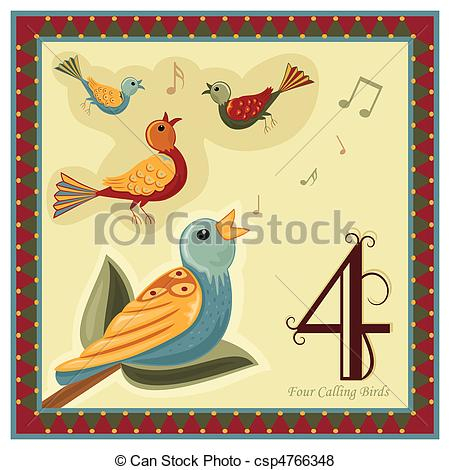 12 Days of Christmas Vector Clip Artby BasheeraDesigns10/860; The 12 Days of Christmas - 4-th Day - Four calling birds.