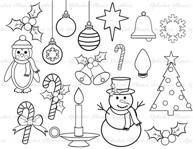 16 Christmas Clip Art Black And White