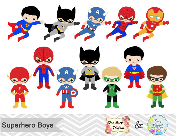 24 Little Boy Superheros Digital Clip Art, Boys Superhero Clipart, Superhero Party, Super Hero Clip Art, Super Hero Boys Clipart, 0190