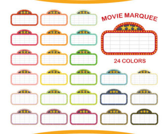 24 Movie Marquee Clipart, Colorful Rainbow Color Clip Art, PNG, Printable Supplies, Instant download, by NedtiDesigns