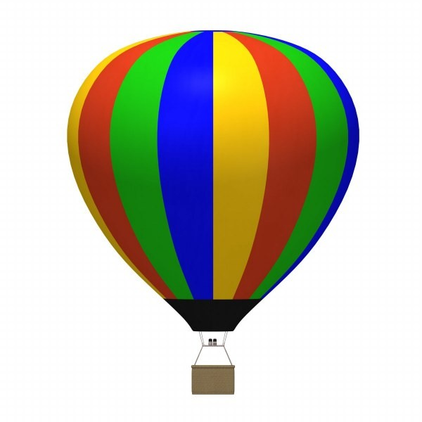 3d hot air balloon; Clipart .