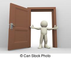 3d man and open door - 3d .