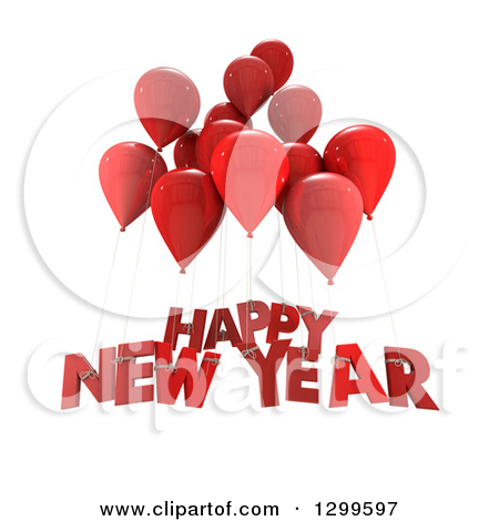 3d Red Party Balloons With Happy New Year Text On White by Frank Boston