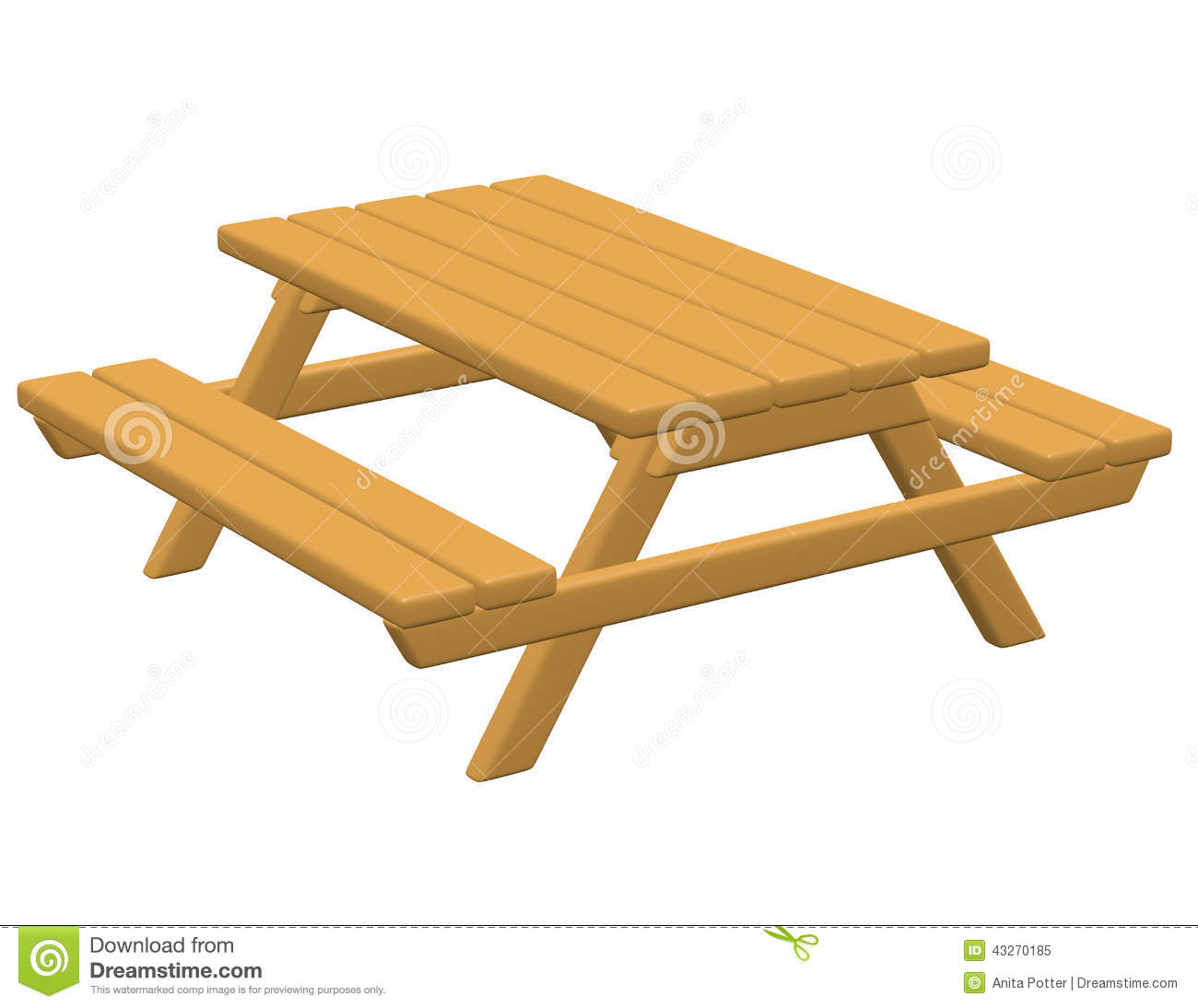 3d Render of a Picnic Table