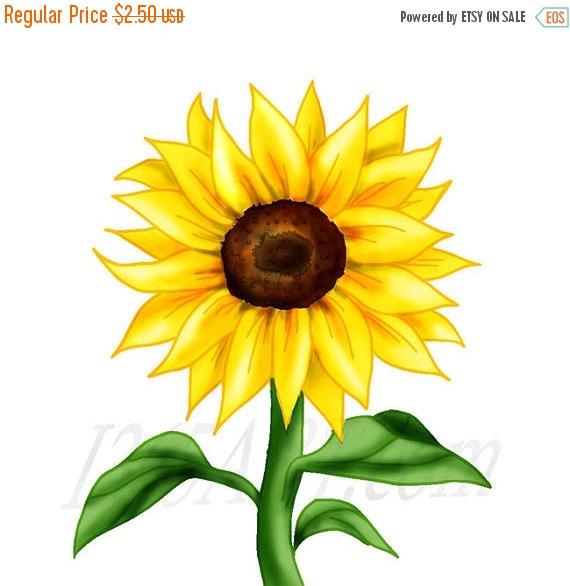 50% OFF Sale Beautiful Sunflower Clipart, Sunflower clip art, Flower clipart, Scrapbooking, Embellishments, Party Invitations, Illustration,