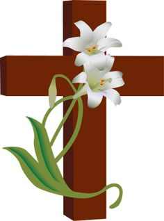 7 Free Religious Easter Clip Art Designs: Cross With White Lilies