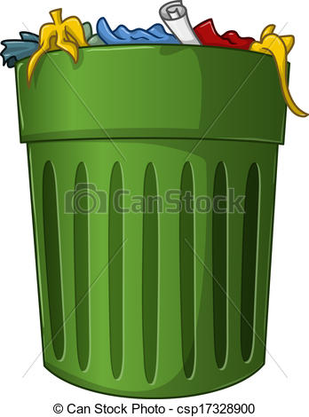 a big green trash can with .