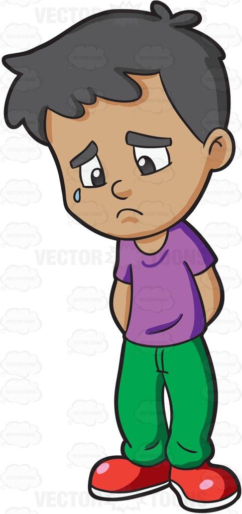 A Boy Feeling Gloomy And Sad .