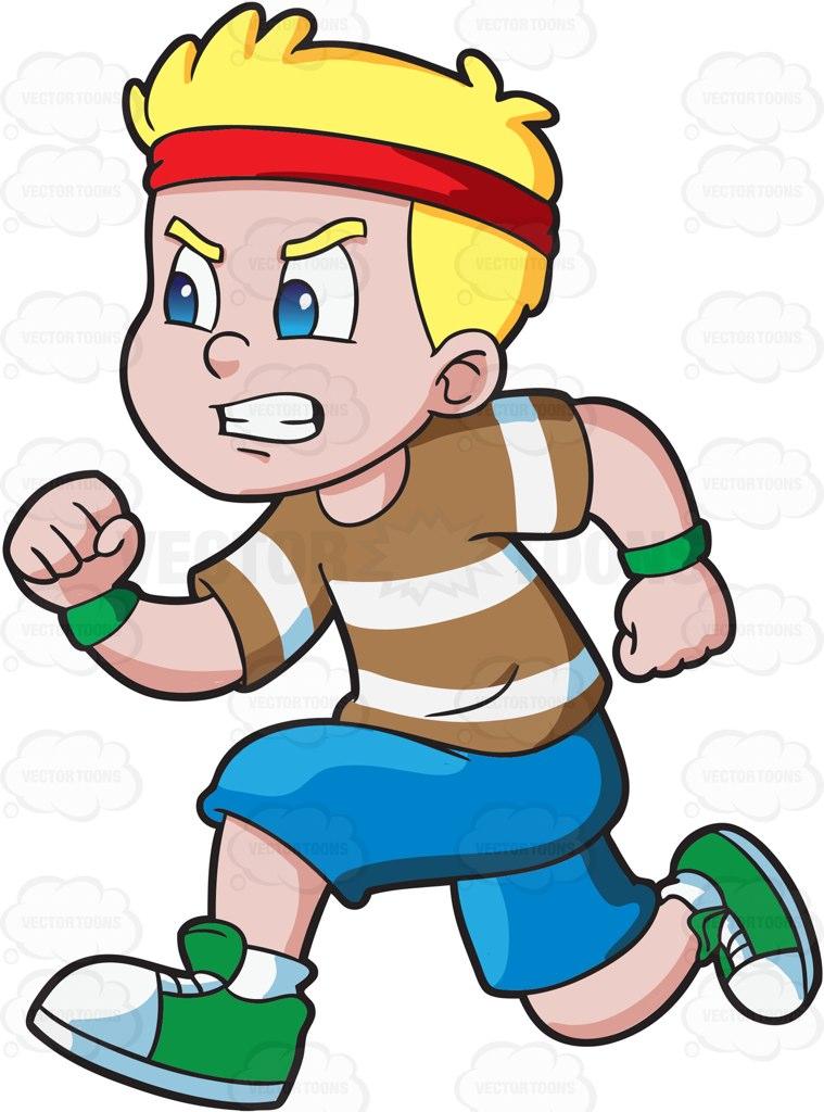 A boy running fast to win an .