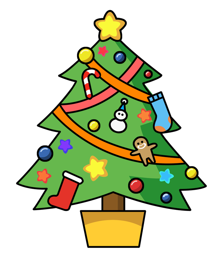 A Christmas tree decorated with homemade ornaments. Clipart Panda
