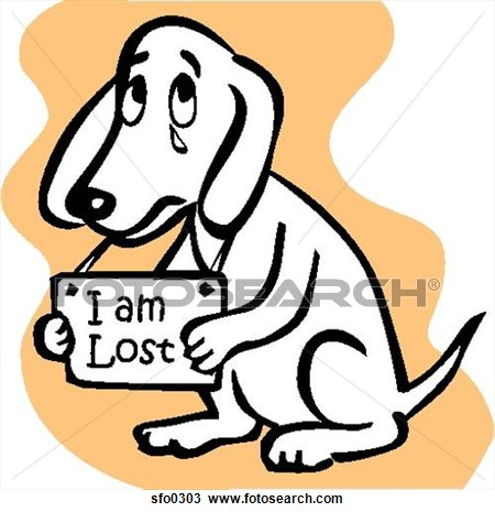 A dog holding an I Am Lost