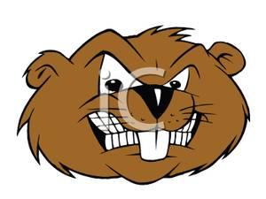 A Glaring Beaver Mascot .