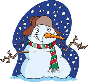 A Grinning Snowman In a Snowstorm Clip Art Image