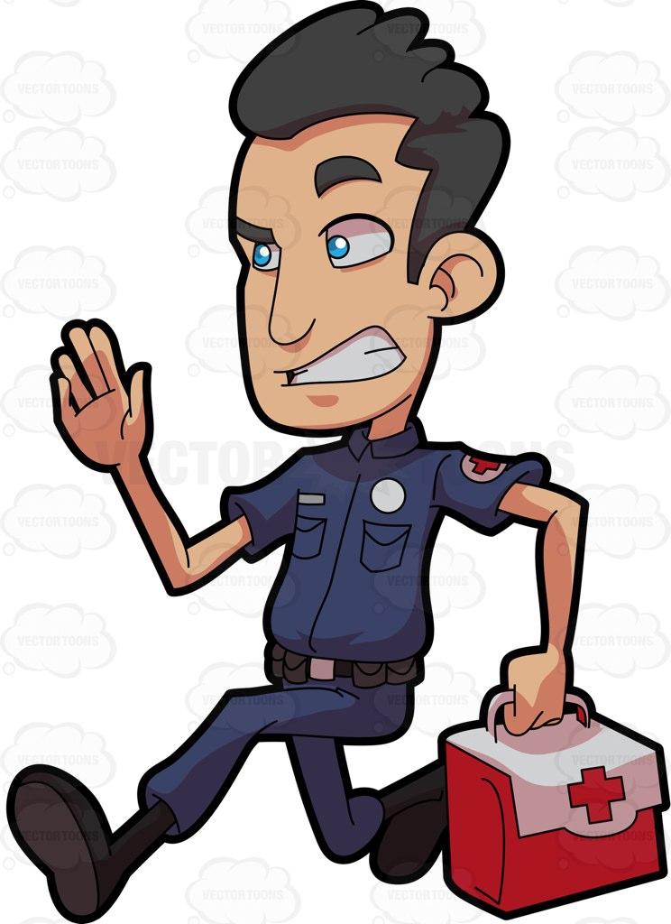 A male paramedic in a rush