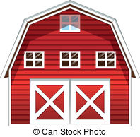 ... A red barn house - Illustration of a red barn house on a.