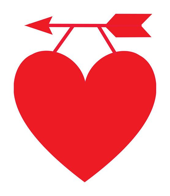 A red heart hanging on an arrow