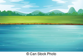 ... A river and a beautiful landscape - Illustration of a river.