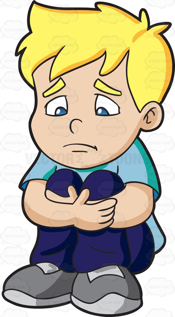 A sad boy making himself feel .