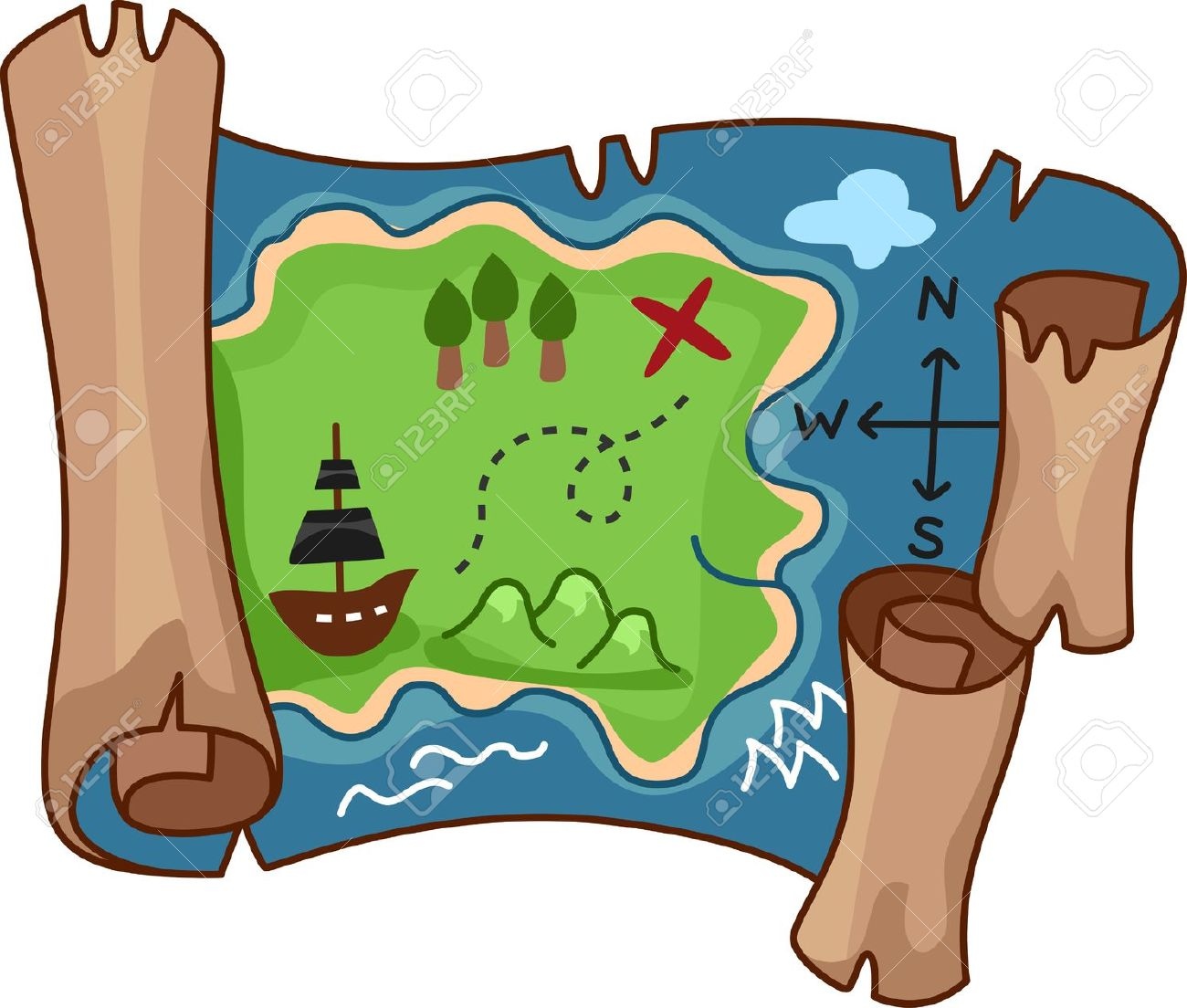 A scroll treasure map by free rf clipart