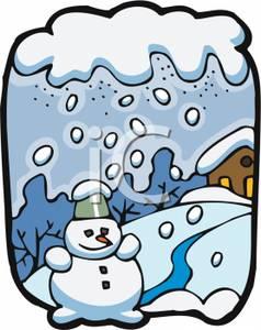 A Snowman In a Snowstorm - Clipart