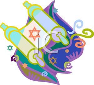 A Star of David on the Torah - Clipart
