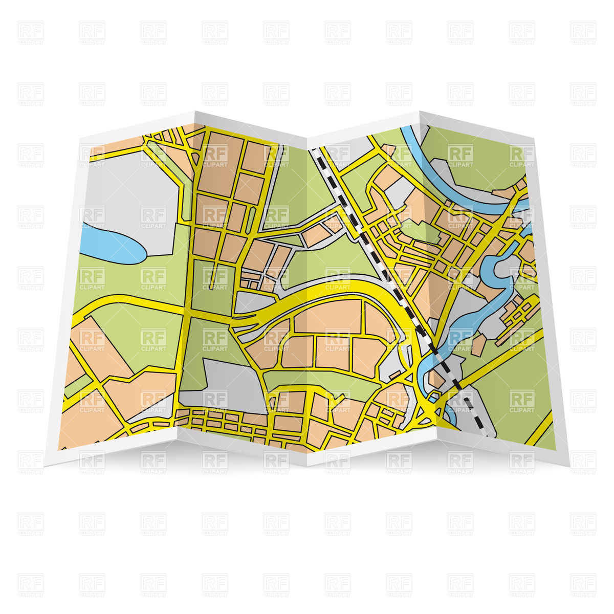 Abstract Folded Paper City Map 28501 Signs Symbols Maps Download
