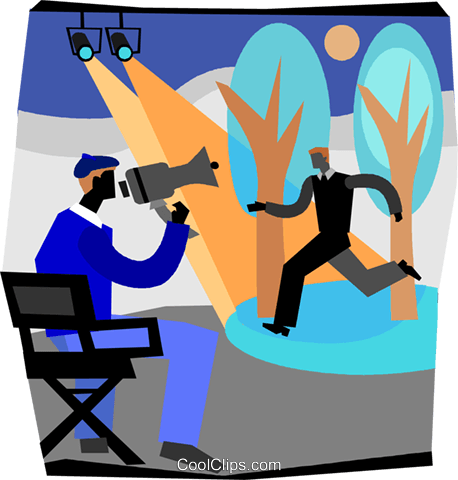 movie director instructing actor Royalty Free Vector Clip Art illustration  vc004662