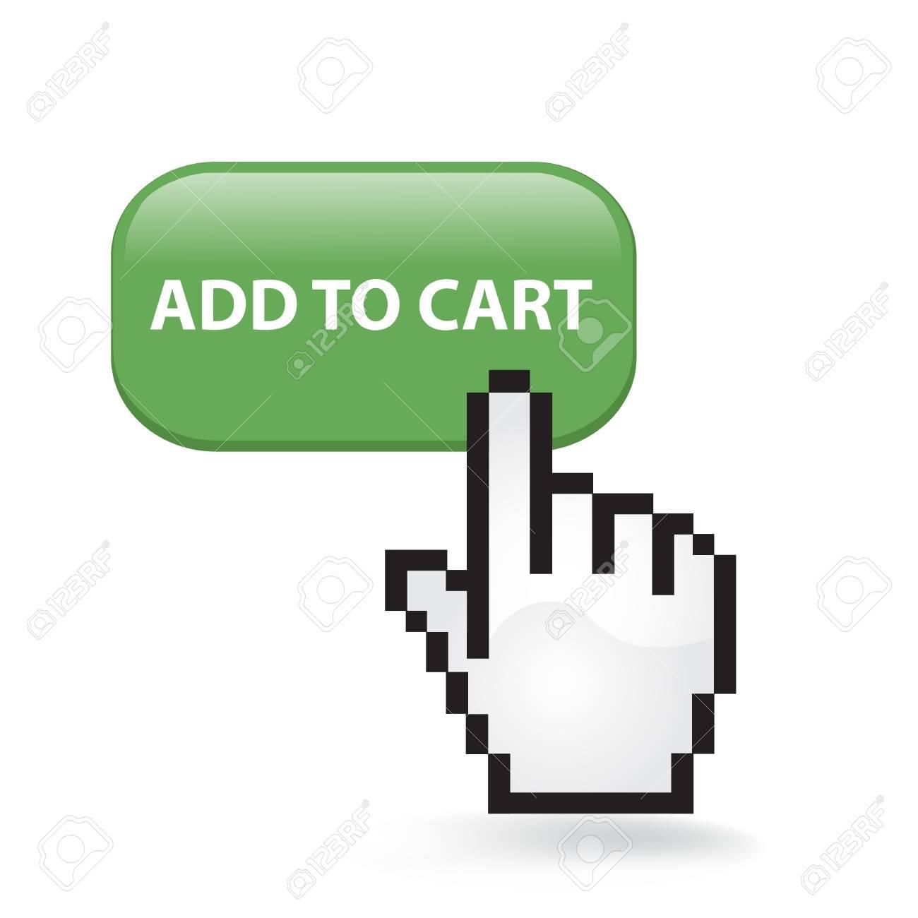 Add To Cart Button Cursor Hand Stock Vector - 99117787