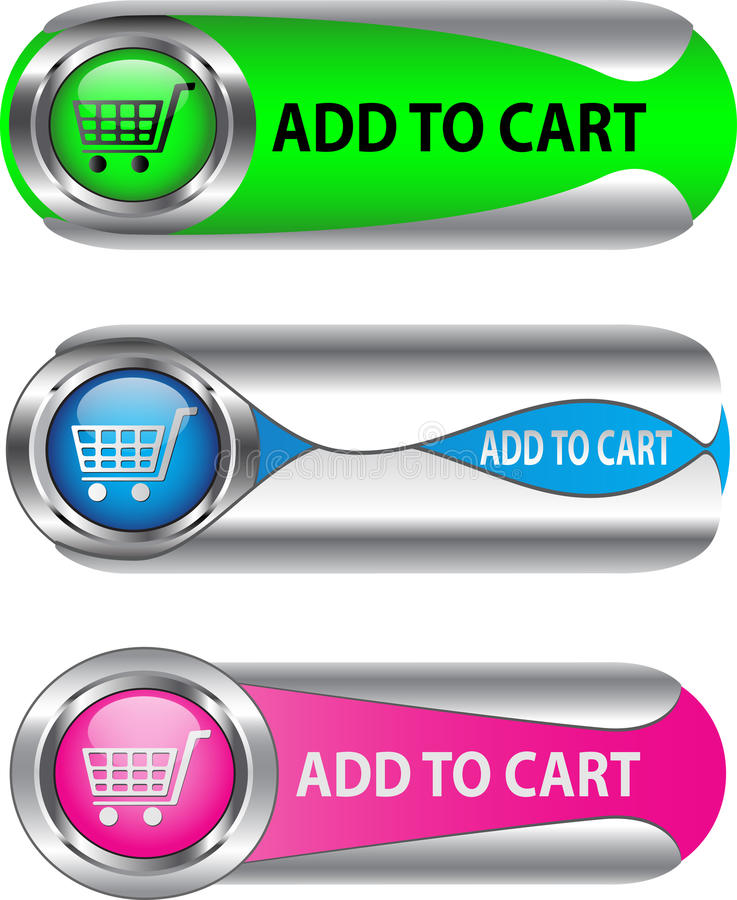 Download Metallic Add To Cart Button/icon Set Stock Vector - Illustration  of modern,