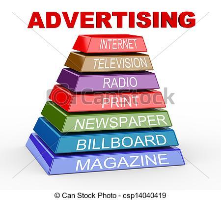 3d pyramid of advertising media - csp14040419