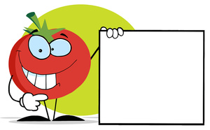 Sign Clipart Image: Tomato with a Blank Sign for Advertising or an Office  Message