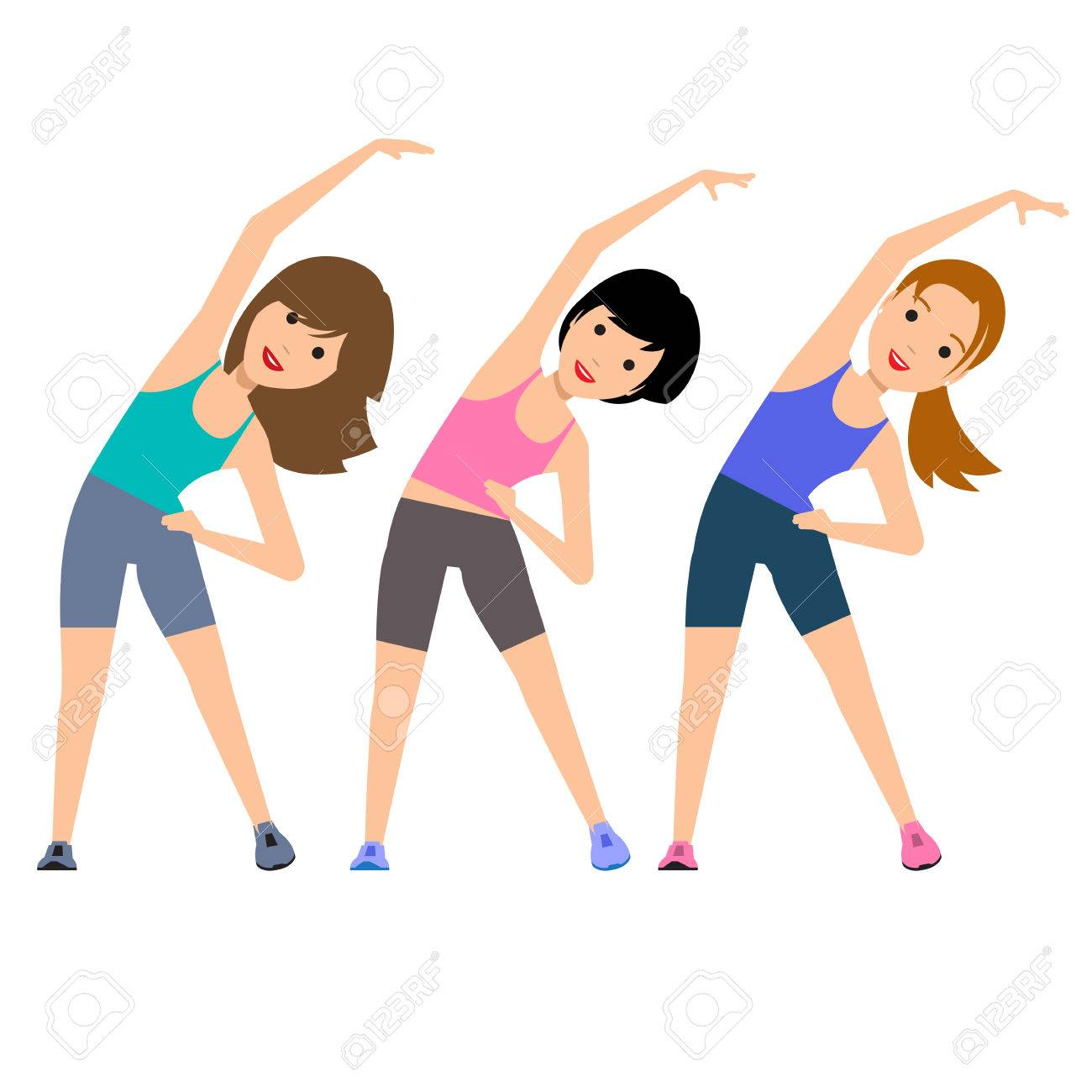 Aerobics. Train create a beautiful figure. Pulling muscles of women.  Dropping excess fat