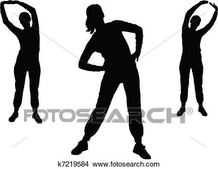 Clipart - aerobics girl 2 - vector. Fotosearch - Search Clip Art,  Illustration Murals