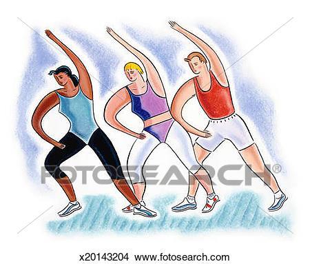 Drawing - Three women in aerobics class. Fotosearch - Search Clip Art  Illustrations, Wall