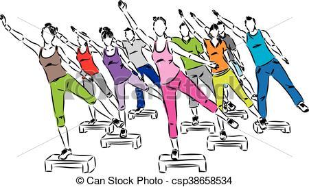 people fitness steps aerobics illus - csp38658534
