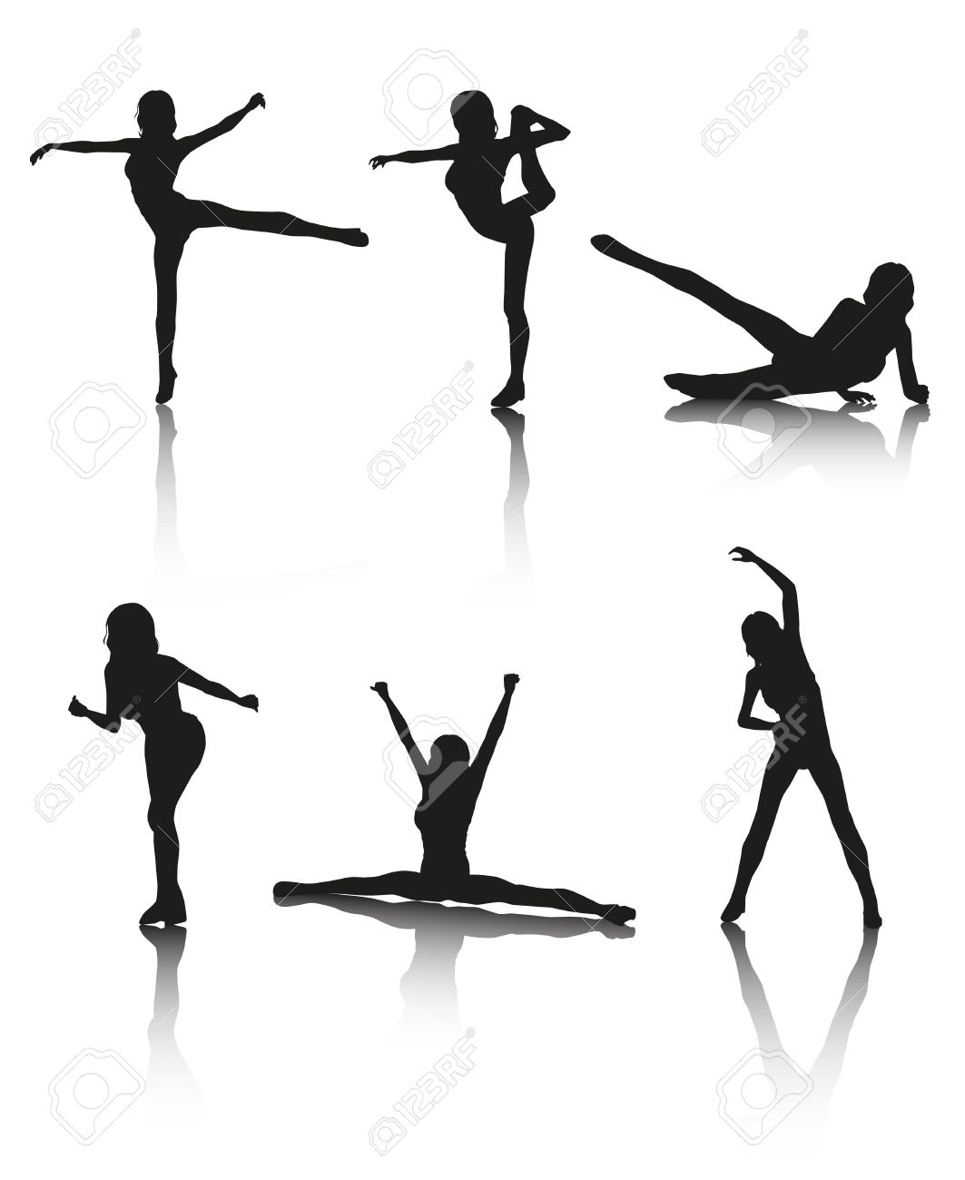 Set of 6 women aerobic vector silhouettes with shadows Stock Vector -  18949666