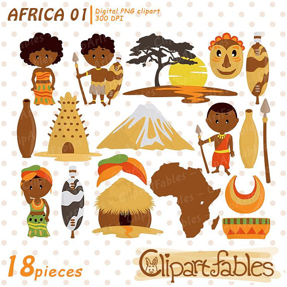Africa clipart, Zulu Tribe DIgital Clip Art, Travel clip art, African  culture, Wild Africa art - digital clipart, instant Africa Clipart