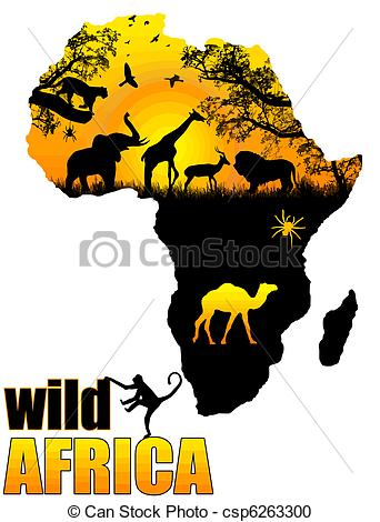Wild Africa poster - csp62633 - Africa Clipart