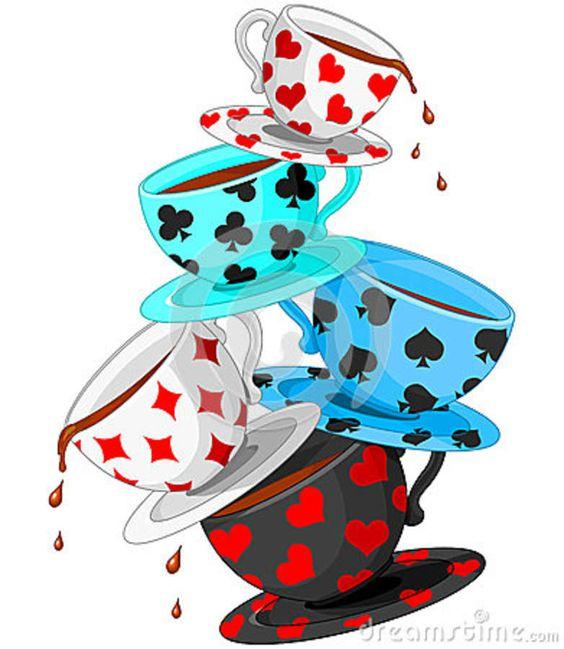 Alice in Wonderland Tea Party Clip Art | Tea Cups Pyramid Royalty Free Stock Image -