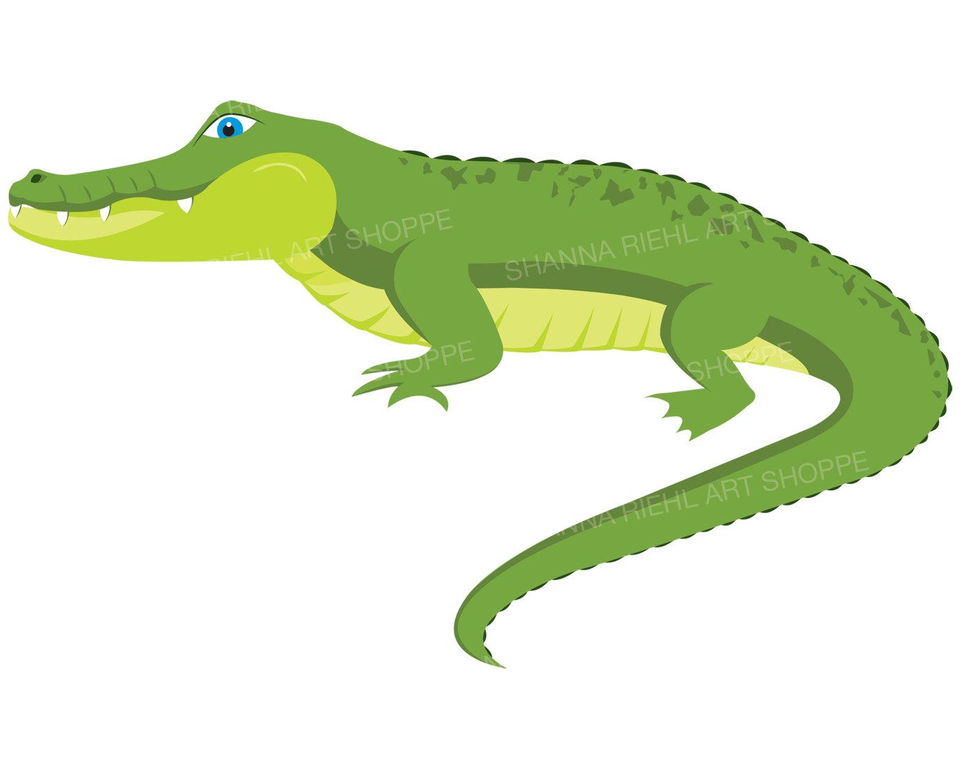 Alligator Clipart   Crocodile Digital Download Art   Commercial Use Swamp Printable Art   Jungle Safari Clip Art   Safari Animals Gator Art