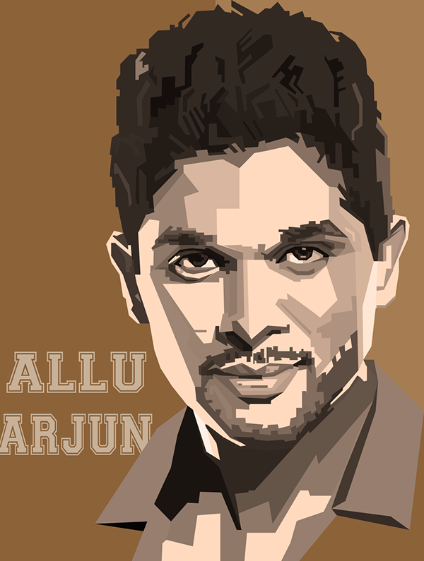 ALLU ARJUN WPAP ART. Graphic Design, Illustration, UI/UX