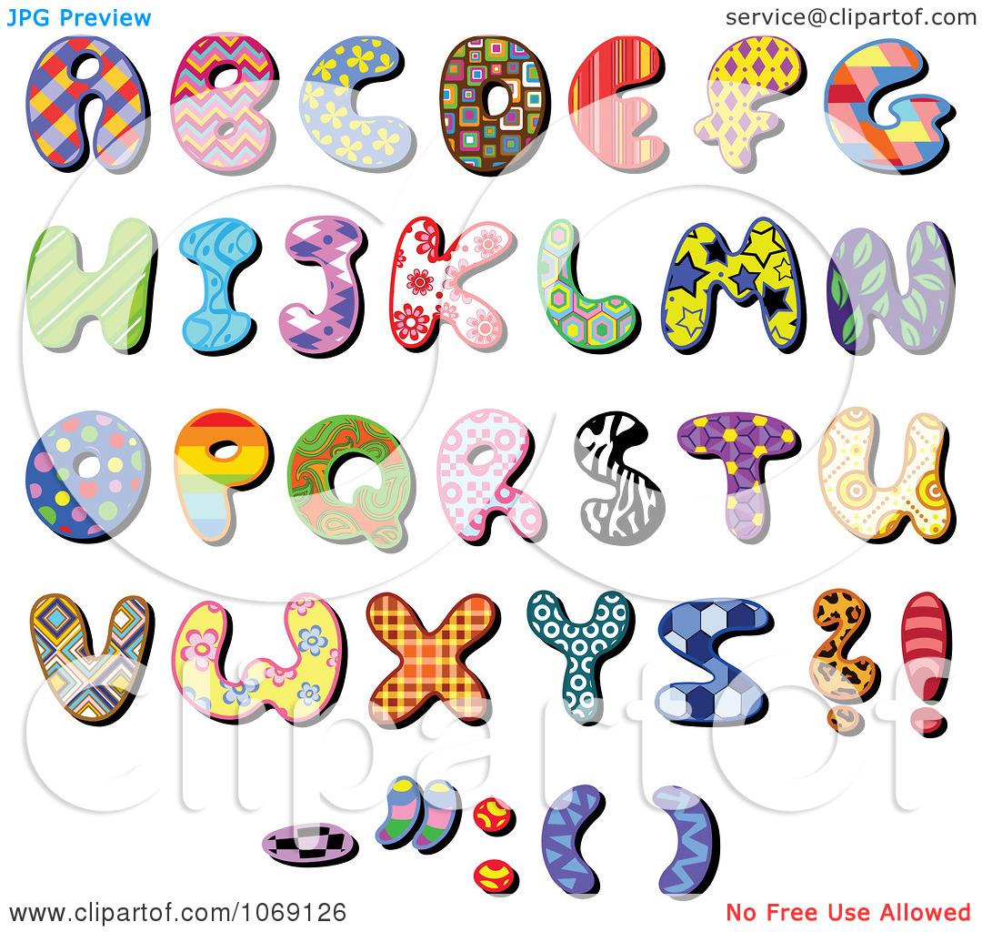Alphabet Clip Art Free Letters. Clipart Patterned Capital .