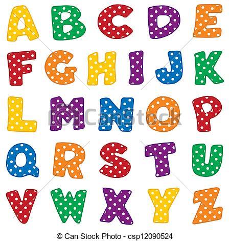 Alphabet, White Polka Dots .