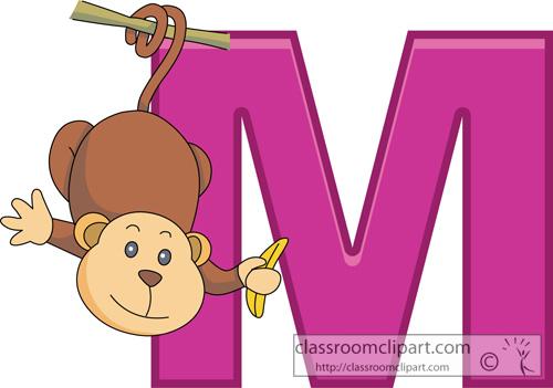 Alphabets Monkey Alphabet Letter M Classroom Clipart