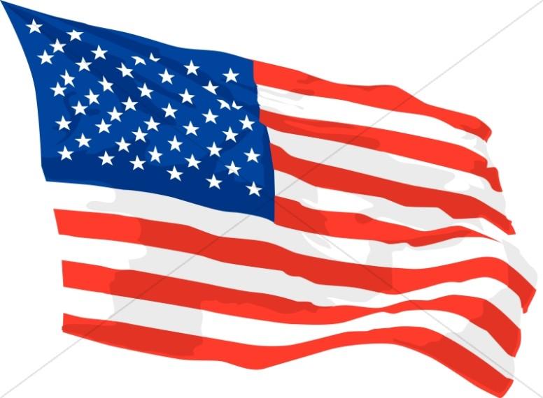 America Flag Waving in Wind