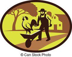 ... Amish Farmer Rooster Wheelbarrow Farm Oval Retro -.